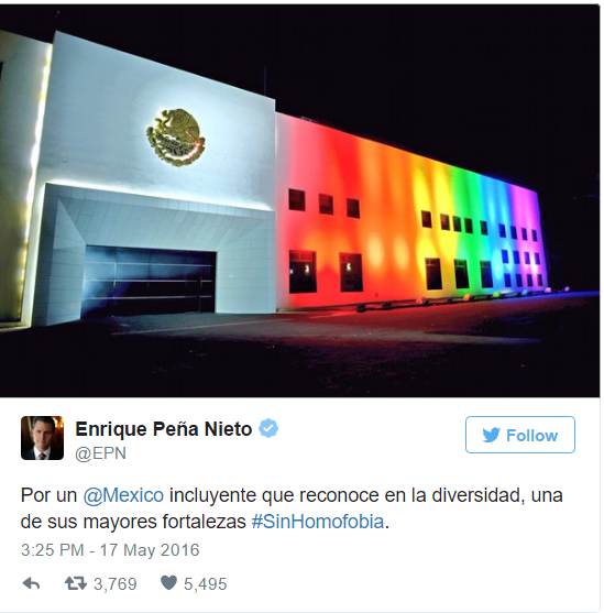 President Pena Nieto's tweet calling for inclusiveness, diversity and an end to homophobia.